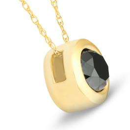 Black Diamond Bezel Solitaire Pendant