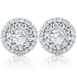 Double Halo Diamond Screw Back Studs 1/2 Carat TW 14K White Gold (H-I, I1-I2)
