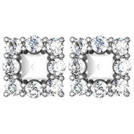 7/8ct Diamond Halo Earring Princess Cut Studs Jackets 14K (2.5-3.5mm) (G-H, I1)