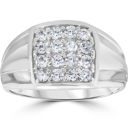 1 cttw Diamond Mens Ring 10k White Gold (I/J, I2-I3)