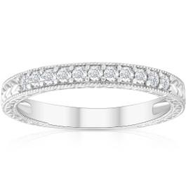 1/4ct Vintage Diamond Hand Engraved Wedding Anniversary Ring 14K White Gold (G/H, I1)
