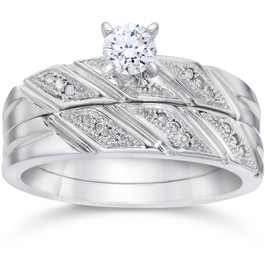 1/5ct Diamond Engagement Ring Matching Wedding Band Set 10K White Gold (H/I, I1-I2)