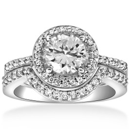 2 3/4ct Halo Diamond Engagement Wedding Ring Set 14K White Gold (H/I, I2-I3)