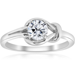 1/2ct Everlong Round Diamond Solitaire Knot Ring 14K White Gold (G/H, I1)