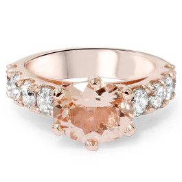 4ct Oval Morganite & Diamond Ring 14K Rose Gold (G/H, I1-I2)