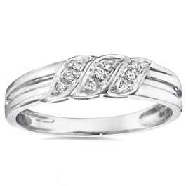 Mens Diamond Ring 10K White Gold (I/J, I2-I3)