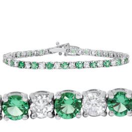 3ct Emerald & Diamond Genuine Tennis Bracelet 14K White Gold (G/H, I2)