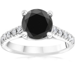 3 1/4 ct 14K White Gold Round Black Diamond Engagement Ring (H-I, I2-I3)