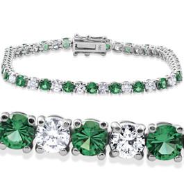 "8ct Emerald & Diamond Tennis Bracelet 14K White Gold 7"" (G/H, I1)"