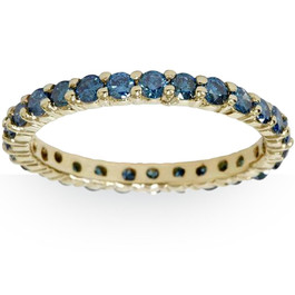 1 1/2ct Round Treated Blue Genuine Diamond Eternity Wedding Ring 14K Yellow Gold (Blue, I1)