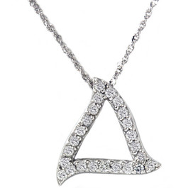 1/4ct Fancy Pave Diamond Curvy 14K White Gold Pendant (G/H, I1)