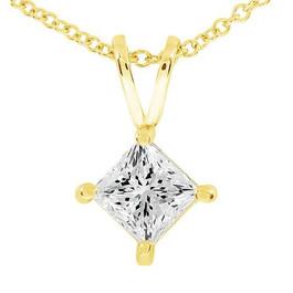 1/2ct Princess Cut Real Diamond Gold Necklace Pendant 14k Yellow Gold (I-J, I2-I3)