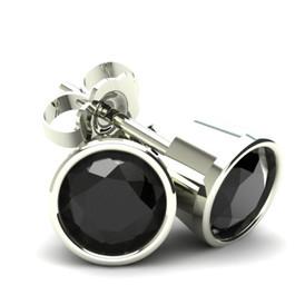 1.25Ct Round Brilliant Cut Heat Treated Black Diamond Stud Earrings in 14K Gold Round Bezel Setting (Black, AAA)
