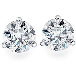 1.00Ct Round Brilliant Cut Natural Diamond Stud Earrings in 14K Gold Martini Setting (G/H, I2-I3)