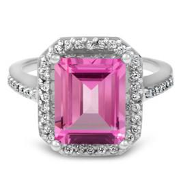 4 1/2ct Pink Topaz & Diamond Vintage Halo Engagement Ring White Gold (G/H, I1-I2)