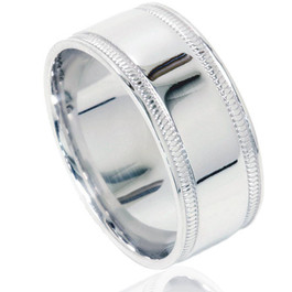 Double Milgrain Inlay Comfort Fit Wedding Band 10K White Gold