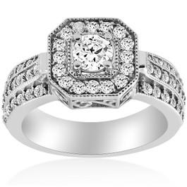 1ct Vintage Diamond Engagement Ring 14K White Gold Halo Round Cut (G/H, I1-I2)