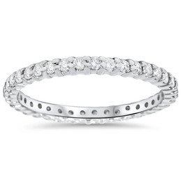 3/4ct Genuine Engagement Wedding Ring 14K White Gold Stackable Band (G/H, SI1-SI2)