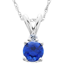 1/2Ct Synthetic Blue Sapphire & Natural Diamond Solitaire Pendant 14K White Gold (J/K, I2-I3)