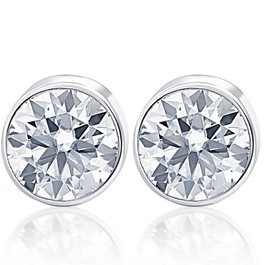 .40Ct Round Brilliant Cut Natural Quality SI1-SI2 Diamond Stud Earrings in 14K Gold Round Bezel Setting (G/H, SI1-SI2)