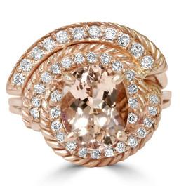 2 3/8CT Morganite Vintage Diamond Ring 14K Rose Gold (H/I, I1-I2)