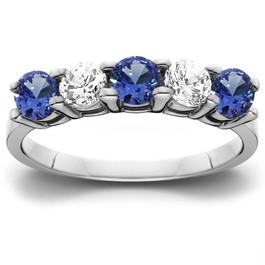 1 cttw Blue Sapphire & Diamond 5-Stone Wedding Anniversary Ring 14k White Gold (H/I, I1-I2)