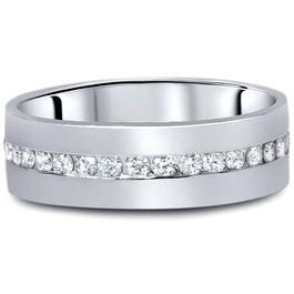 1 1/10ct Diamond Mens Eternity Wedding Ring 8mm 14K White Gold (G/H, I1)