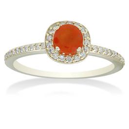 7/8ct Orange Sapphire & Diamond Cushion Halo Ring 14K Yellow Gold (H/I, I2-I3)