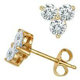 1ct Three Stone Diamond Earrings 14K Yellow Gold (I-J, I1-I2)