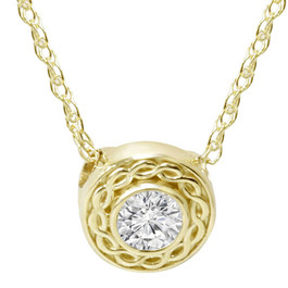 1/10CT Solitaire Round Diamond Braided Pendant 14K Yellow Gold 6MM Wide (G/H, SI2-I1)