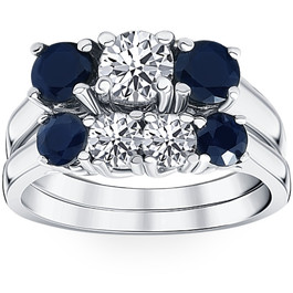 2 3/4ct Blue & White Diamond Three Stone Ring Set 14K White Gold (Blue, I1)