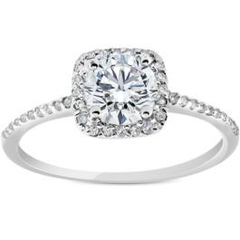 G/SI .85 CT Cushion Halo Diamond Engagement Ring 14k White Gold Enhanced ((G-H), SI(1)-SI(2))