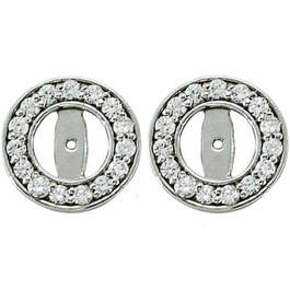1/2ct Halo Round Diamond Studs Earring Jackets 14K White Gold (3.5-4mm) (G-H, I1)