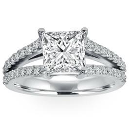 1 1/3Ct Princess Cut Split Shank Enhanced Diamond Engagement Ring 14K White Gold ((G-H), SI(1)-SI(2))