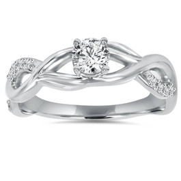 1/2CT Vintage Infinity Diamond Engagement Ring 14K White Gold (H/I, I1-I2)