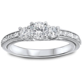 1 1/4ct 3-Stone Diamond Ring 14K White Gold (I/J, I2-I3)