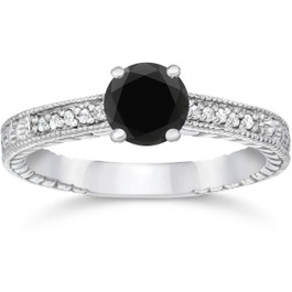 1 1/5ct Vintage Treated Black & White Diamond Engagement Ring 14K White Gold (H, I1)