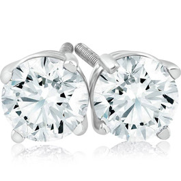 1 ct Diamond Studs with Screw Backs 14k White Gold ((G-H), SI(1)-SI(2))