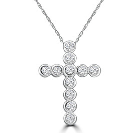 3/4ct Diamond Bezel Cross Pendant 14K White Gold (G/H, I1)