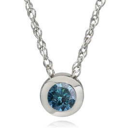 1/2ct Solitaire Blue Diamond Pendant 14K White Gold (Blue, I1)