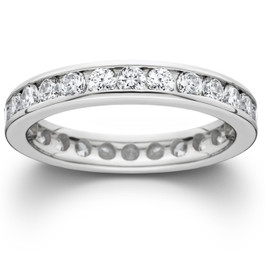1 1/2ct Channel Set Diamond Eternity Ring 14K White Gold (G/H, SI)