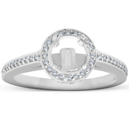 1/3ct Diamond Engagement Semi Mount Halo 14K White Gold Ring (G/H, I1-I2)