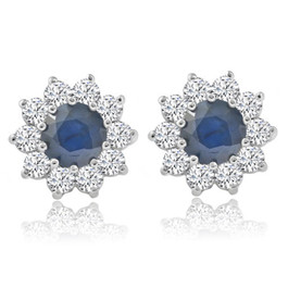 1 3/4ct Blue Sapphire & Diamond Halo Studs Earrings 14K White Gold (G, VS)