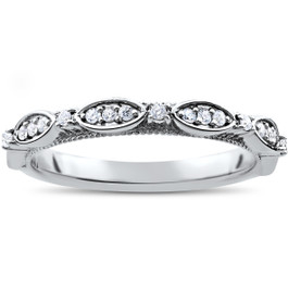 1/4ct Diamond Wedding Ring Womens Stackable Anniversary Ring 14k White Gold (H/I, I1-I2)