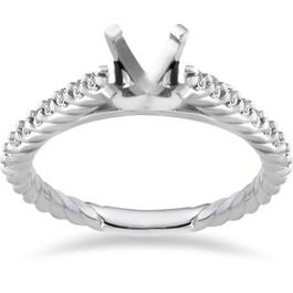 3/8ct Braided Diamond Engagement Ring Setting 14K White Gold (G/H, I1)