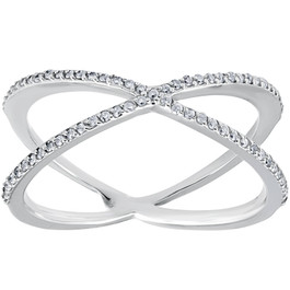 1/5CT 10K White Gold Round Diamond Crossover Cocktail Fashion Statement X Ring (I/J, I2-I3)