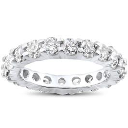 4 ct Diamond Eternity Wedding Ring 14K White Gold (I-J, I2-I3)
