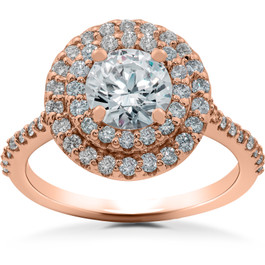 1 ct Double Halo Diamond Lab Created Engagement Ring 14k Rose Gold (F, VS)
