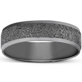 Mens 10K Black Gold Textured Wedding Band