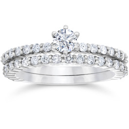 1 Carat Diamond Engagement Wedding Ring Set 10K White Gold (H/I, I1-I2)